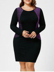 Plus Size Sparkly Long Sleeve Hourglass Dress