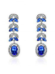Faux Sapphire Rhinestone Leaf Oval Earrings