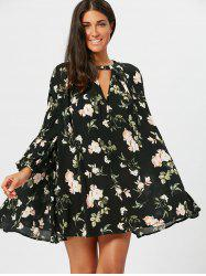 Floral Long Sleeve Tunic Swing Dress