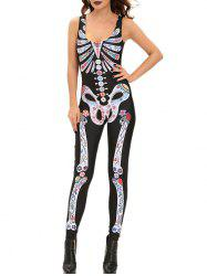 Skeleton Print Fitted Halloween Costume