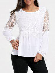 Long Sleeve Chiffon Lace Trim Top -
