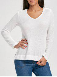 Knit Side Slit Hooded Top