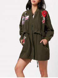 Zip Up Embroidery Coat with Pocket -