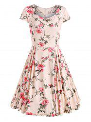 Floral Print Cap Sleeve Vintage Dress