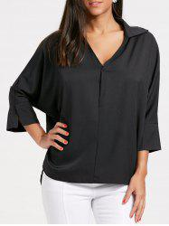 V Neck Oversized High Low Blouse