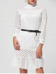 Flounce Stand Collar Lace Shift Dress - WHITE S