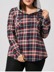 Plus Size Button Up Plaid Shirt Hoodie