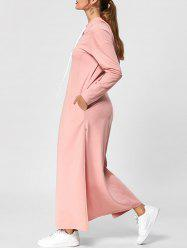 Hooded Drawstring Neck High Slit Maxi Dress