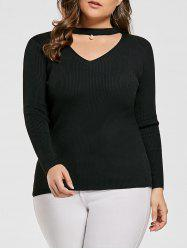 Choker Cutout Plus Size Ribbed Sweater