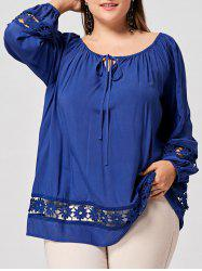 Plus Size Keyhole Hollow Out Lace Panel Top