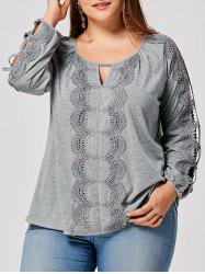Plus Size Keyhole Cut Out Lace Panel Top