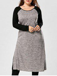 Plus Size Side Slit Raglan Sleeve Longline Top