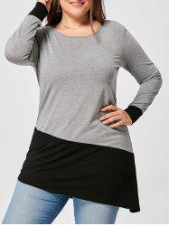 Plus Size Long Sleeve Two Tone Asymmetric Top