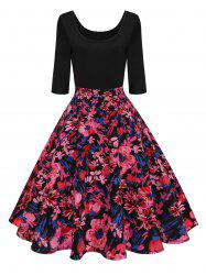 Vintage U Neck Floral Pin Up Dress