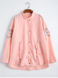Plus Size Drawstring Waist Floral Embroidered Jacket - LIGHT PINK 3XL