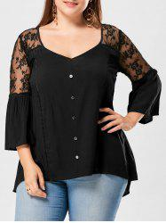 Plus Size Flare Sleeve Sheer Yoke Blouse