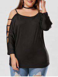 Cut Out Ladder Sleeve Plus Size T-shirt