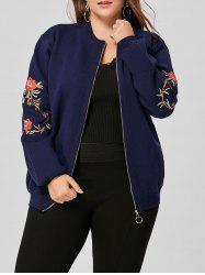 Plus Size Floral Embroidered Zip Up Knitted Coat