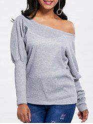Skew Collar Knitted Batwing Sleeve Top -