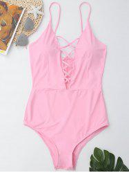 Cross Back One Piece Swimsuit - LIGHT PINK L