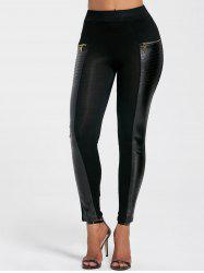 Chic Faux Leather Spliced Zippered Black Leggings For Women -