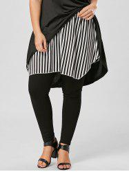 Plus Size Striped Asymmetrical Skirt -