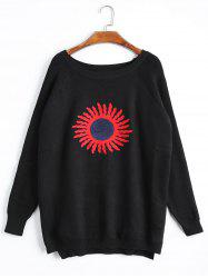 Plus Size High Low Sun Print Raglan Sleeve Knitwear -