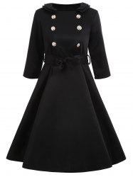 Vintage Buttoned A Line Dress with Belt -