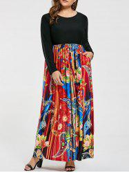 Floral Printed Plus Size Maxi Long Sleeve Dress -
