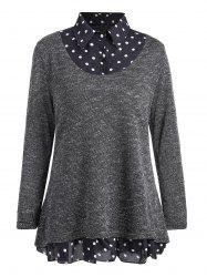 Plus Size Overlay Polka Dot Knit Top -
