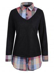 Checked Panel Plus Size Sweater -