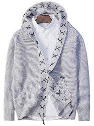 Sennit Design Hooded Open Front Cardigan -