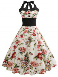 Retro Floral Print Halter Pin Up Dress -