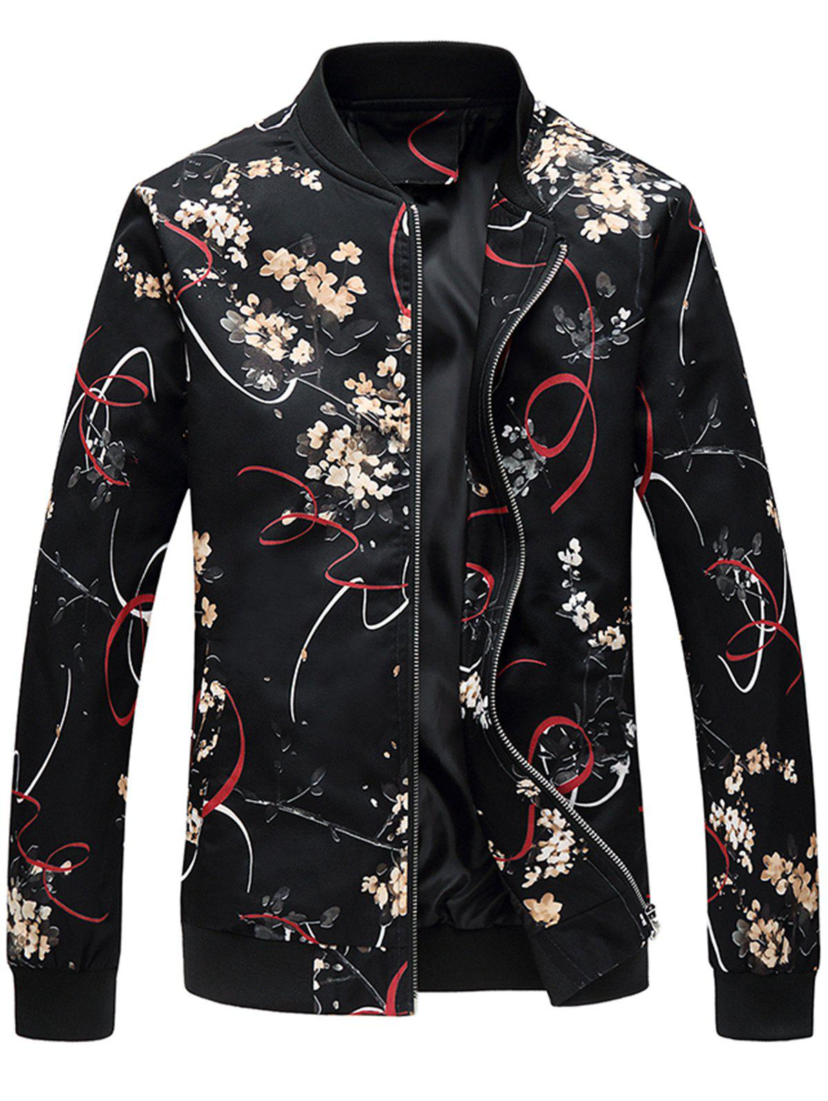 New Stand Collar Floral Print Jacket