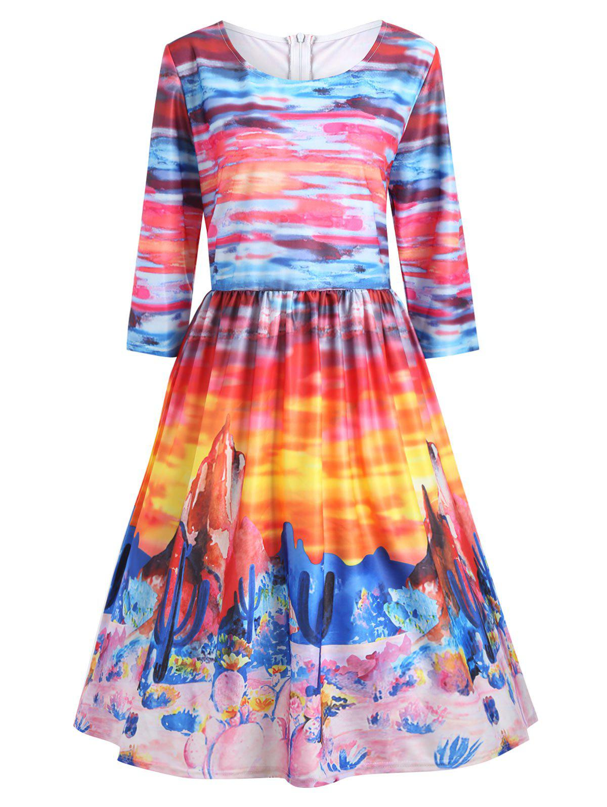 Buy Printed Ombre Plus Size A Line Vintage Dress