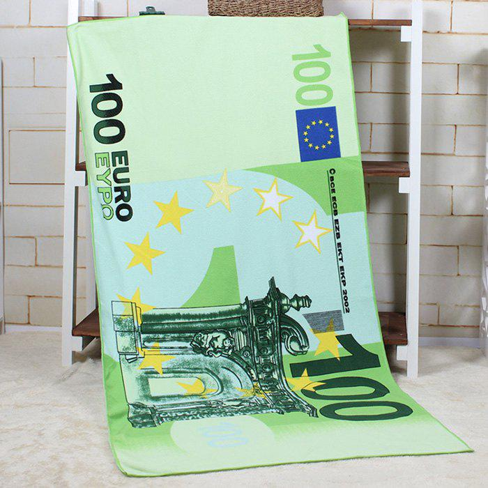 100 Euro Note Pattern Water Absorption Bath TowelHOME<br><br>Color: GREEN; Products Type: Towels; Materials: Microfiber Fabric; Pattern: Money; Style: Fashion; Shape: Rectangle; Size: 70*140CM; Package Contents: 1 x Bath Towel;