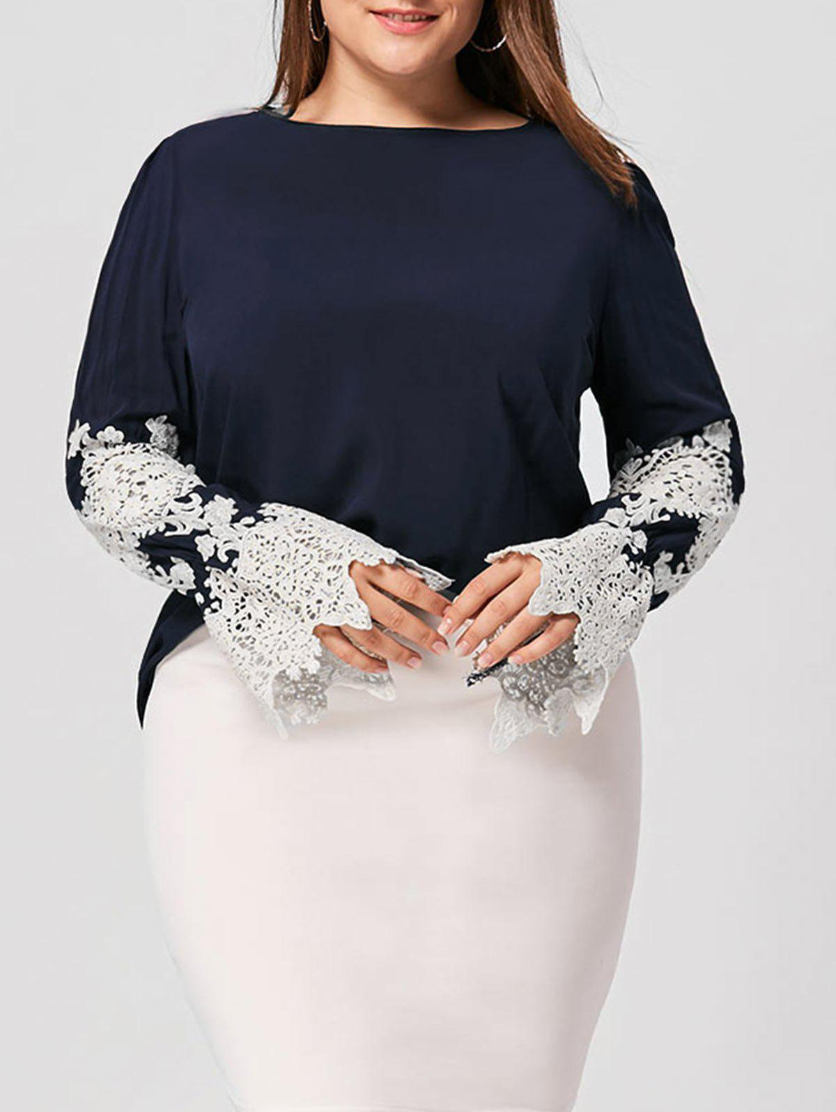 Plus Size Lace Panel High Low BlouseWOMEN<br><br>Size: XL; Color: BLACK BLUE; Material: Rayon; Shirt Length: Long; Sleeve Length: Full; Collar: Slash Neck; Style: Fashion; Season: Fall,Spring; Embellishment: Lace; Pattern Type: Others; Weight: 0.2400kg; Package Contents: 1 x Top;