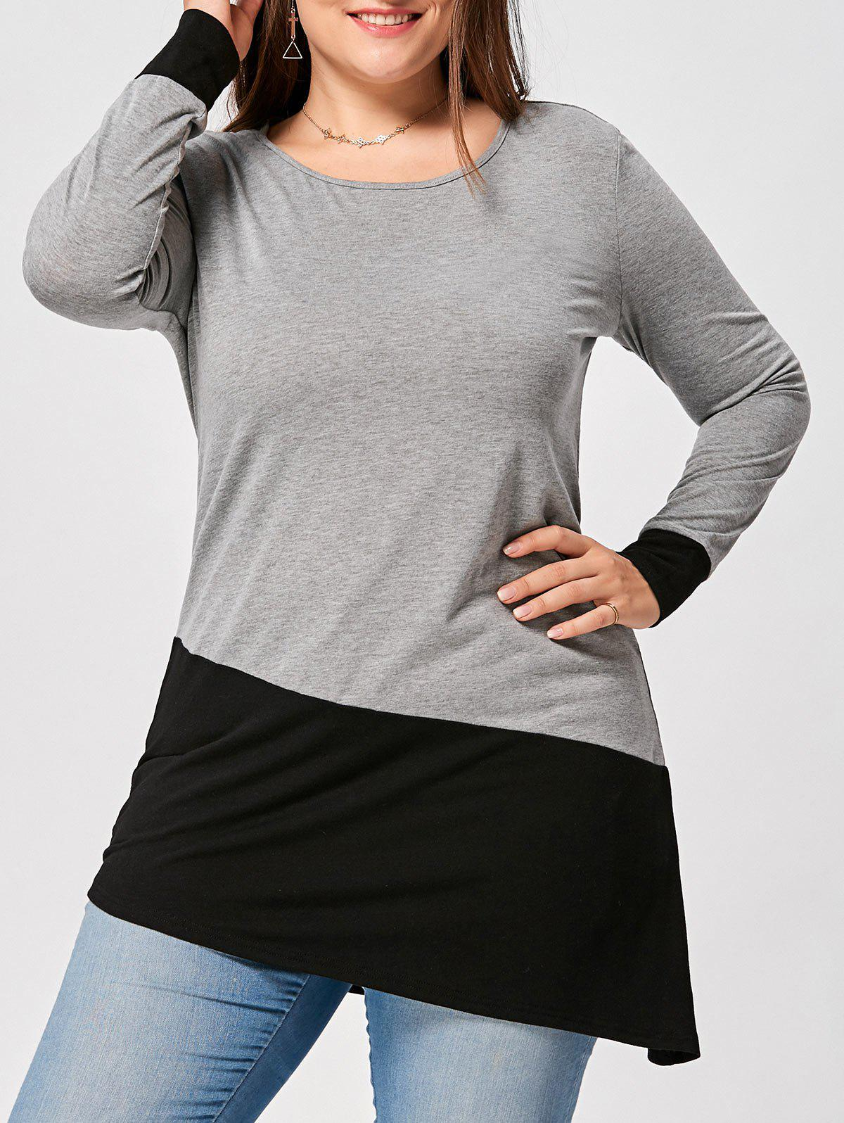 Plus Size Long Sleeve Two Tone Asymmetric TopWOMEN<br><br>Size: 5XL; Color: BLACK AND GREY; Material: Cotton,Polyester; Shirt Length: Long; Sleeve Length: Full; Collar: Round Neck; Style: Casual; Season: Fall,Spring; Pattern Type: Others; Weight: 0.3000kg; Package Contents: 1 x T-shirt;