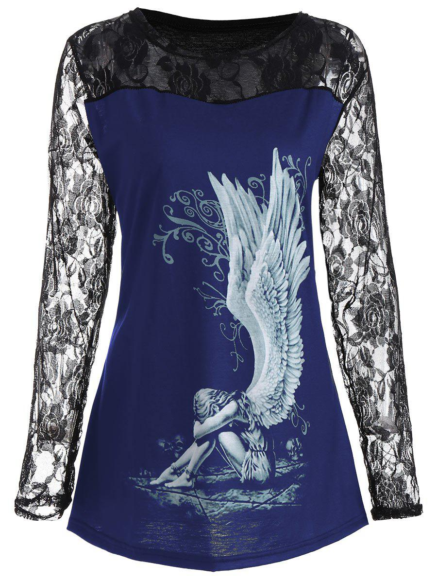 Lace Panel Angel Print Plus Size TopWOMEN<br><br>Size: 2XL; Color: BLUE; Material: Polyester; Shirt Length: Long; Sleeve Length: Full; Collar: Round Neck; Style: Fashion; Season: Fall; Embellishment: Lace; Pattern Type: Fairy; Weight: 0.3500kg; Package Contents: 1 x Top;