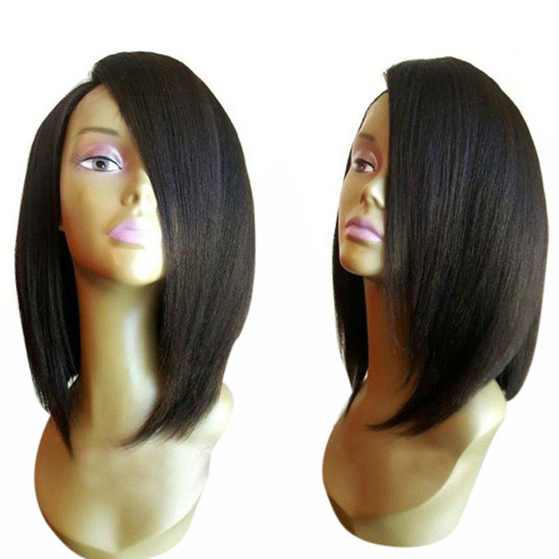 Medium Shoulder Length Side Parting Straight Bob Synthetic WigHAIR<br><br>Color: BLACK; Type: Full Wigs; Cap Construction: Capless; Style: Straight; Material: Synthetic Hair; Bang Type: Side; Length: Medium; Length Size(CM): 39; Weight: 0.1900kg; Package Contents: 1 x Wig;