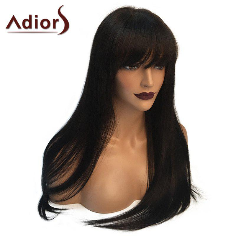 Adiors Full Bang Long Glossy Straight Synthetic WigHAIR<br><br>Color: NATURAL BLACK; Type: Full Wigs; Cap Construction: Capless; Style: Straight; Material: Synthetic Hair; Bang Type: Full; Length: Long; Length Size(CM): 65; Weight: 0.2460kg; Package Contents: 1 x Wig;