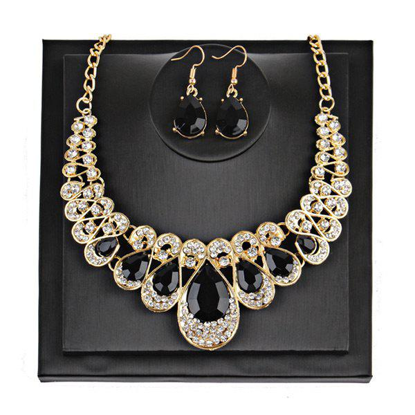 Teardrop Faux Gem Chunky Necklace SuitJEWELRY<br><br>Color: BLACK; Gender: For Women; Necklace Type: Link Chain; Material: Rhinestone; Metal Type: Alloy; Style: Noble and Elegant; Shape/Pattern: Water Drop; Weight: 0.1000kg; Package Contents: 1 x Necklace  1 x Earrings(Pair);