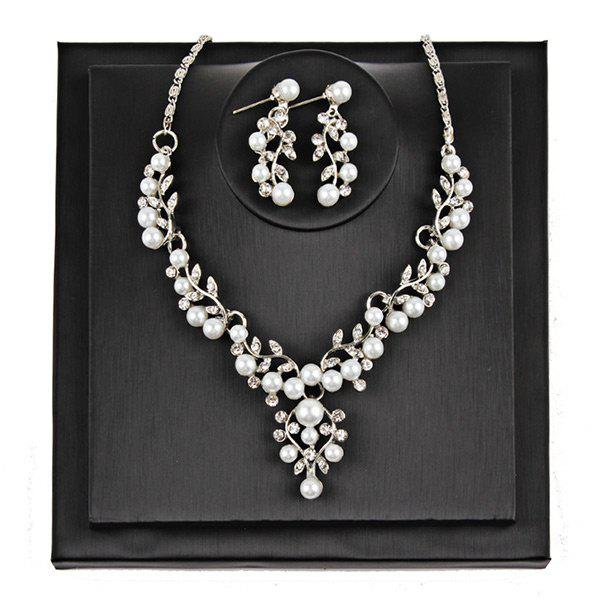 Branches and Leaves Faux Pearl Jewelry SetJEWELRY<br><br>Color: SILVER; Gender: For Women; Material: Pearl; Metal Type: Alloy; Style: Noble and Elegant; Shape/Pattern: Plant; Weight: 0.1000kg; Package Contents: 1 x Necklace  1 x Earrings(Pair);