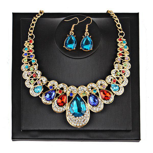 Teardrop Faux Gem Chunky Necklace SuitJEWELRY<br><br>Color: COLORMIX; Gender: For Women; Necklace Type: Link Chain; Material: Rhinestone; Metal Type: Alloy; Style: Noble and Elegant; Shape/Pattern: Water Drop; Weight: 0.1000kg; Package Contents: 1 x Necklace  1 x Earrings(Pair);
