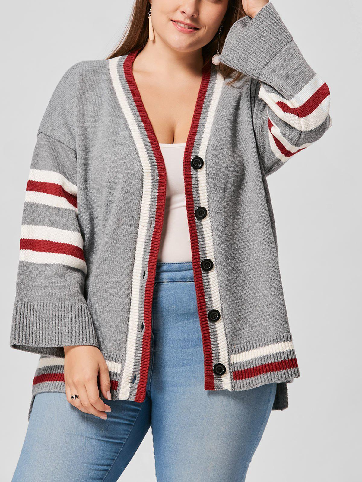 Plus Size Drop Shoulder Striped CardiganWOMEN<br><br>Size: ONE SIZE; Color: GRAY; Type: Cardigans; Material: Acrylic,Polyester; Sleeve Length: Full; Collar: V-Neck; Style: Fashion; Season: Fall; Pattern Type: Striped; Weight: 0.6500kg; Package Contents: 1 x Cardigan;