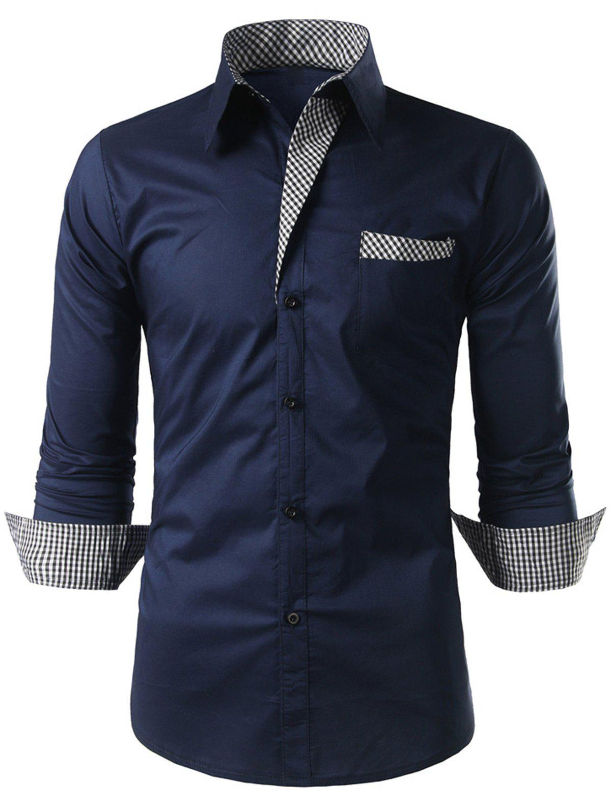 Plaid Trim Long Sleeve ShirtMEN<br><br>Size: XL; Color: CADETBLUE; Shirts Type: Casual Shirts; Material: Polyester; Sleeve Length: Full; Collar: Turn-down Collar; Pattern Type: Plaid; Weight: 0.2500kg; Package Contents: 1 x Shirt;