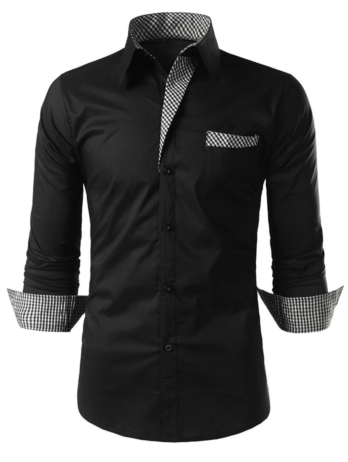 Plaid Trim Long Sleeve ShirtMEN<br><br>Size: L; Color: BLACK; Shirts Type: Casual Shirts; Material: Polyester; Sleeve Length: Full; Collar: Turn-down Collar; Pattern Type: Plaid; Weight: 0.2500kg; Package Contents: 1 x Shirt;