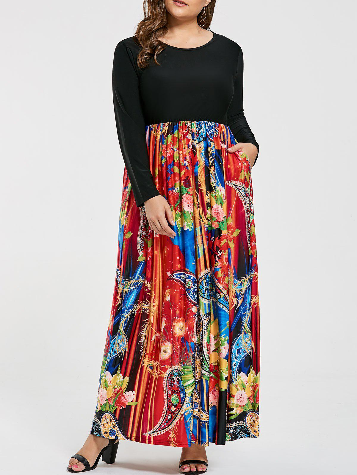 Shops Floral Printed Plus Size Maxi Long Sleeve Dress
