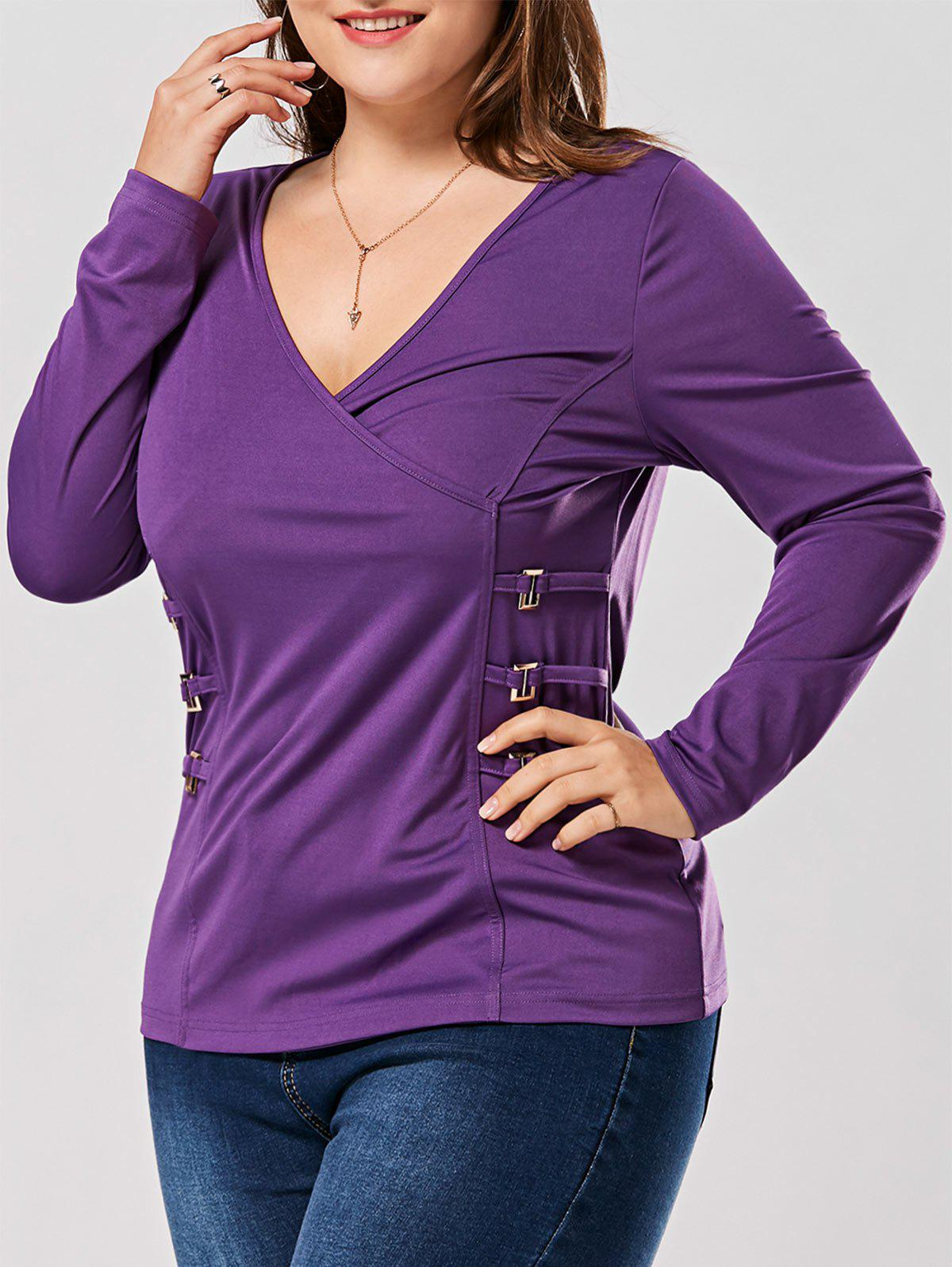 Plus Size Metal Buttons Plunging Neck Surplice TopWOMEN<br><br>Size: XL; Color: PURPLE; Material: Cotton,Polyester; Shirt Length: Regular; Sleeve Length: Full; Collar: Plunging Neck; Style: Fashion; Season: Fall,Spring; Embellishment: Button; Pattern Type: Solid; Weight: 0.3500kg; Package Contents: 1 x T-shirt;
