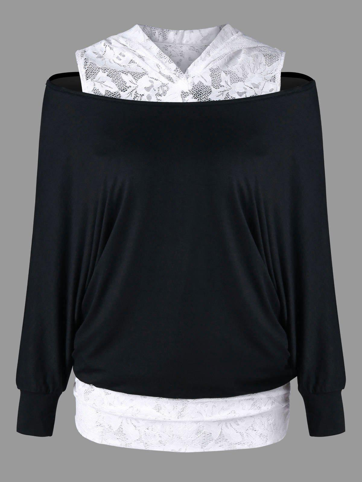 Lace Panel Cold Shoulder HoodieWOMEN<br><br>Size: L; Color: WHITE AND BLACK; Material: Rayon,Spandex; Shirt Length: Regular; Sleeve Length: Full; Style: Casual; Pattern Style: Floral; Embellishment: Lace; Season: Fall,Spring; Weight: 0.3200kg; Package Contents: 1 x Hoodie;